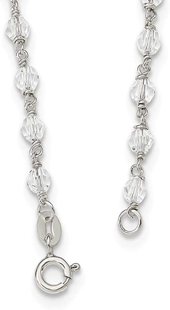 925 Sterling Silver Polished Black Crystal Rosary Necklace 23.5 Inch