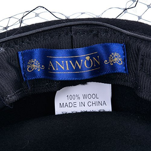 Aniwon Wool Pillbox Hat Retro British Style Cocktail Party Wedding Fascinator Veil Hat for Women by Aniwon (Image #7)
