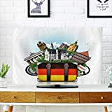 PRUNUS Cover for Wall Mount tv Germany,German Landmarks,Travel and Retro Suitcase Cover Mount tv W19 x H30 INCH/TV 32''