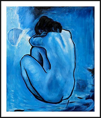 "Alonline Art Blue Nude Pablo Picasso Black Aluminum FRAMED POSTER (Print on 100% Cotton CANVAS on foam board) - READY TO HANG | 20""x23"" 