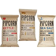 Pipcorn Mini Popcorn 4 oz Three Flavors Variety Sea Salt, Truffle and Kettle - 9 Packs in Total