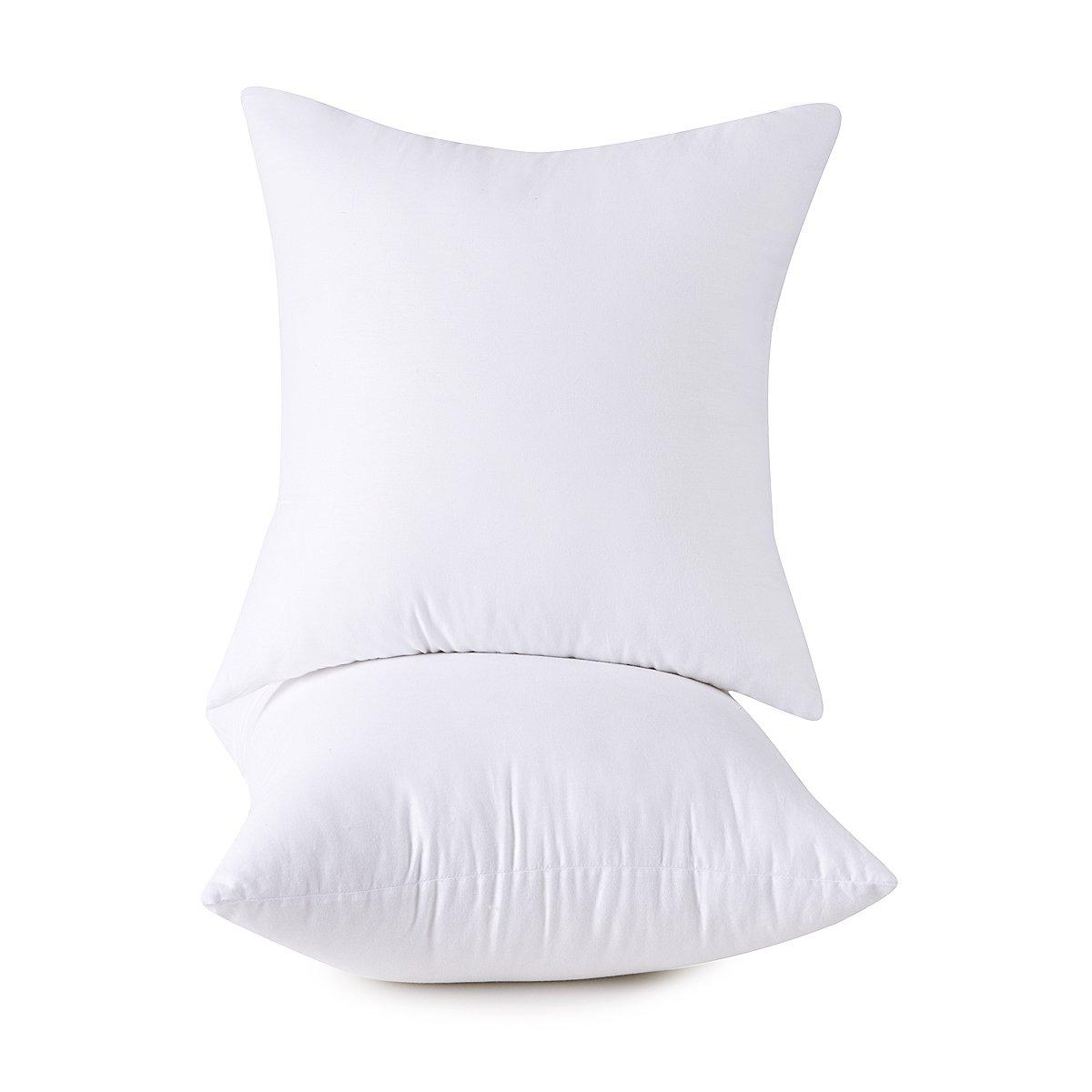 Set of 2, 100% Cotton Down Alternative Decorative Throw Pillow Insert, Square, 26x26 Inch