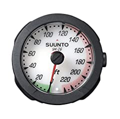 Suunto SM-16 depth gauge features a reliable Bourdon tube mechanism with a gear system, maximum depth indicator, zero-in facility for high altitude diving, and phosphorescent dial face. The scale is available in meters (45 m and 70 m) or feet...