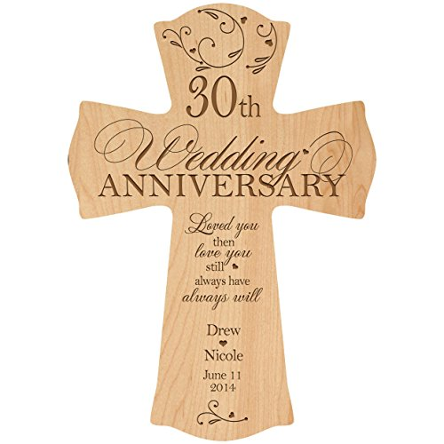 Personalized 30th Wedding Anniversary Wood Wall Cross Gift for Couple 30 year Anniversary Gifts ideas for Her Him Loved You Then Love You Still Always Have Always Will (8.5