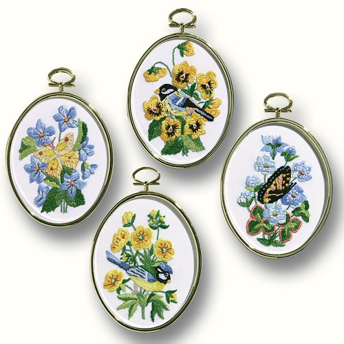 Janlynn Embroidery Kit, 4-1/4-Inch by 3-1/4-Inch, Birds and Butterflies, Set of 4