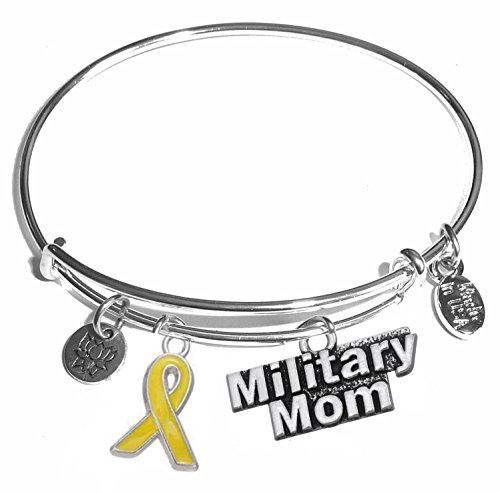 Message Charm (46 words to choose from) Expandable Wire Bangle Bracelet, in the popular style, COMES IN A GIFT BOX! (Military Mom)