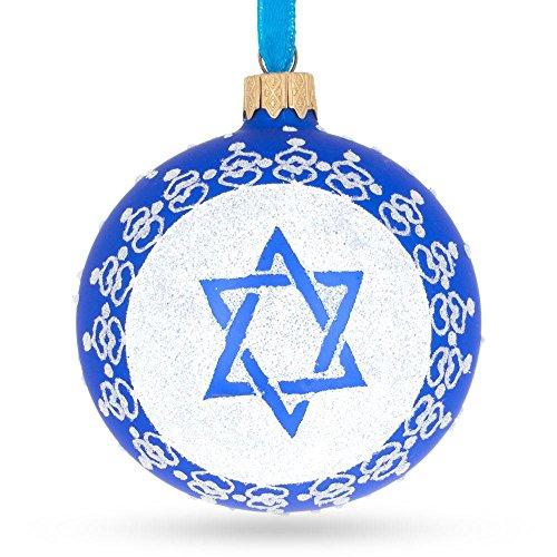 (BestPysanky Star of David Jewish Glass Ball Ornament 3.25 Inches)