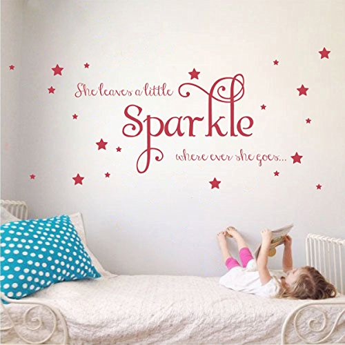 She Leaves a Little Sparkle Girls Room Vinyl Wall Decal Sticker Inspirational Quote with Stars (Dahlia Red, 15x36 inches)
