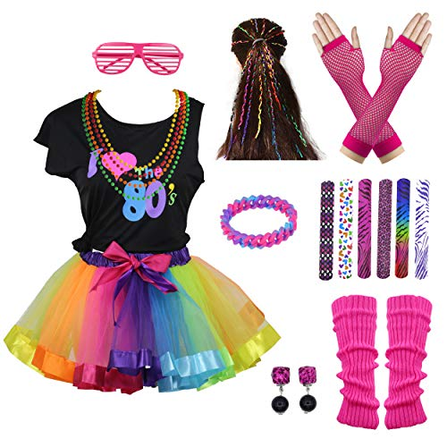 I Love 80s Rainbow Tutu Skirt Child Girl's Costume Accessories Set (8-10, Rainbow) -