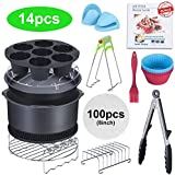 8 Inch Air Fryer Accessories XL, Best Hot Fryer Accessories Set of 14 Fit all 5.3Qt-6.0Qt Air Fryers, FDA Approved, BPA Free