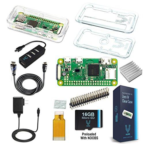Raspberry Pi Zero W Complete Starter Kit--Premium Clear Case Edition--Includes Pi Zero W and 7 Essential Accessories (Port Lan 4 Card)