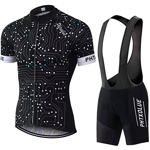 r Breathable Cycling Jerseys Mountain Bike Short Sleeved T-Shirt Bicycle Shorts Padded Pants (Asia M=US Small, Black) ()