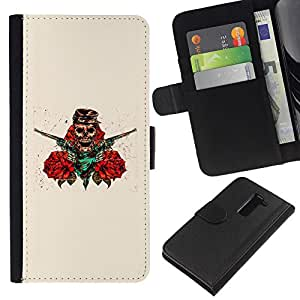 LG G2 D800 D802 D802TA D803 VS980 LS980 , la tarjeta de Crédito Slots PU Funda de cuero Monedero caso cubierta de piel ( Skull Pirate Robber Guns Red Flowers Art)