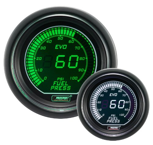 Electrical Green//white EVO Series 52mm 2 1//16 Fuel Pressure Gauge