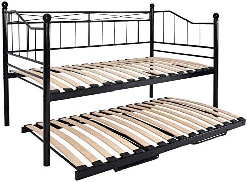 Miadomodo – Cama de día (Cama de Metal) sin Ruedas de diseño romántico de Color Negro y tamaño 201/100/ 115 cm - Apto para colchón de 200 x 100 cm