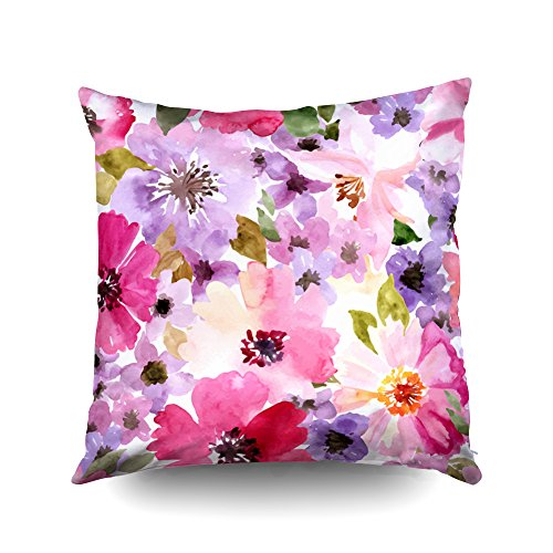 (ROOLAYS Decorative Throw Square Pillow Case Cover 18X18Inch,Cotton Cushion Covers Seamless wallpaper with summer flowers Watercolor Both Sides Printing Invisible Zipper Home Sofa Decor Pillowcase)