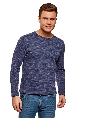 oodji Ultra Men's Long Sleeve T-Shirt with Chest Pocket, Blue, US 34 / EU 44 / XS ()