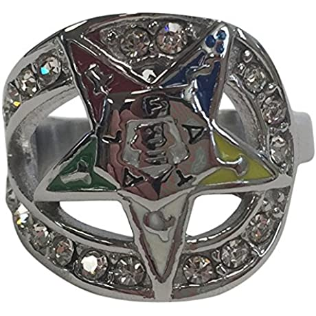 Order Of The Eastern Star OES FX4694 5 Stone Ring In Silver Size 5 Fraternity Fraternal Organization Greek