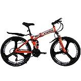 Cheap ATOPONE A9 Pro folding mountain black bike Speed Double Disc Brake complete bicycle High quality bike rack bicycles (orange, 21speed)