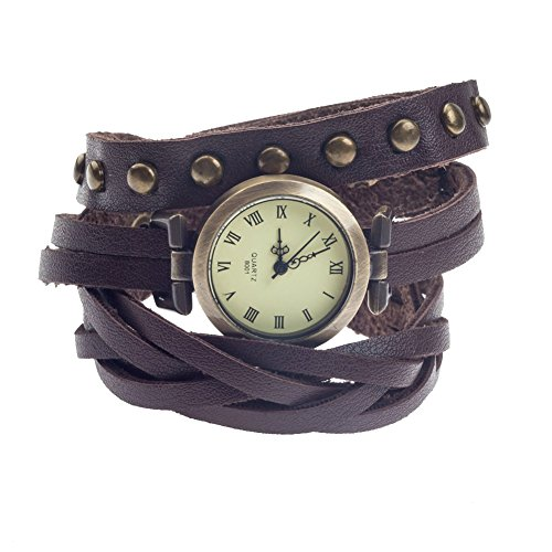 Bangle Watch Wrap Leather Around - High Quality Vintage Style Ladies Quartz Wrist Watch With Long Brown Wrap Around Leather Bracelet, Braided Band And Round Bronze Studs By VAGA©