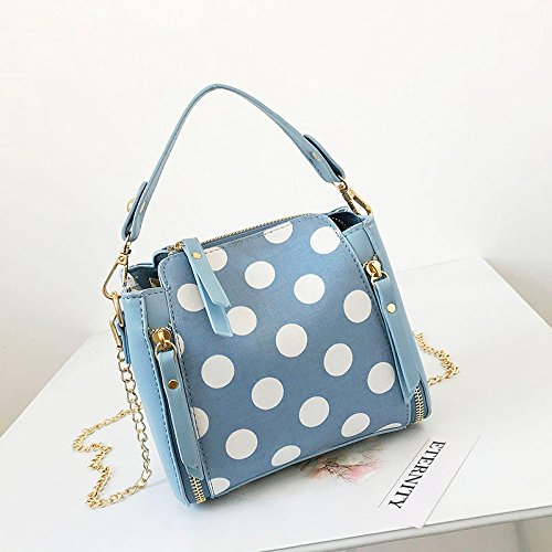 Wild blue Bag Bucket Bag Chain Of Wave Korean Bag Version Packet Handbag Satchel Olici Point Crossbody Fashion v6Rwtqa