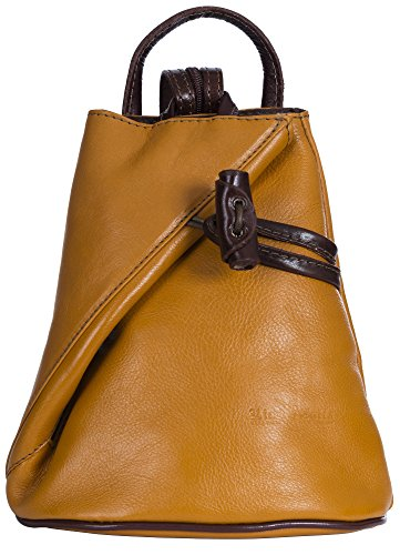 LiaTalia Vera Pelle Made In Italy Brady byLiaTalia Womens Mens Adult Convertible Strap Italian Leather Backpack Rucksack Duffle Shoulder Bag Handbag (Large/Medium - Yellow BrownT) by LiaTalia Vera Pelle Made In Italy