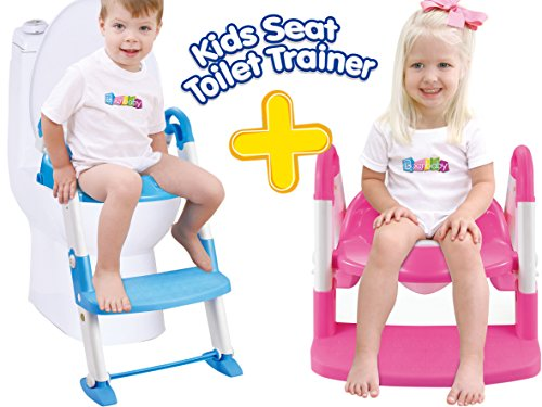 Potty Training Seat Baby Products - 3 in 1 Non-Slip Toilet Trainer Portable Auxiliary Seat with Step Tool Ladder for Kids Baby