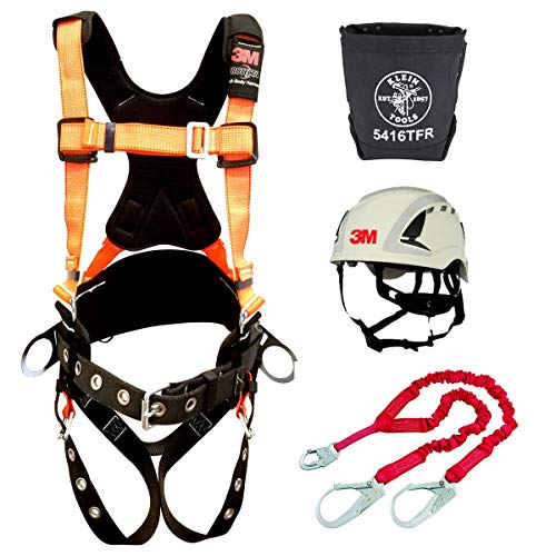Protecta PRO Comfort Harness With Reflective Webbing and Reinforced Belt (Size-XL) + Protecta 1340161 PRO 6' Shock Absorbing Lanyard + 3M SecureFit Safety Helmet, X5001VX +Bolt Bag 5416TFR