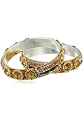Chamak by priya kakkar Peach and Grey Crystals with Gold Metal Circular Detailing Set of 2 Bangle Bracelet