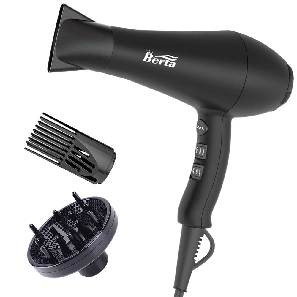 1875W Ionic Hair Dryer with Diffuser, Professional Powerful Fast Dry Blow Dryer with Concentrator Attachments, Adjustable 3 Heat & 2 Speed