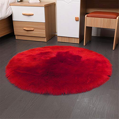(Eanpet Faux Sheepskin Chair Pad Round Cover Seat Cushion Pad Soft Fluffy Area Rug for Area Rugs for Chair Seat Pad Couch Pad Area Natural Rugs Red 1.5x1.5FT)