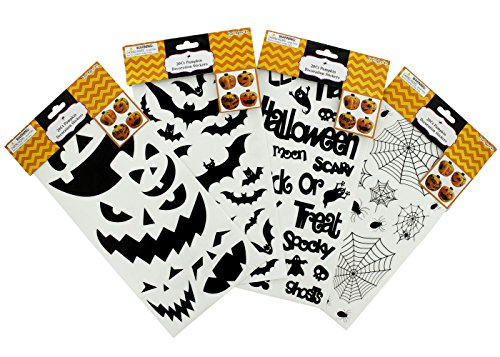 Pumpkin Decoration Stickers - 4 Assorted Designs - Halloween - Jack-o-Lantern (Diy Halloween Lanterns)