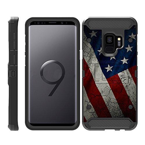 TurtleArmor | Samsung Galaxy S9+ Case | S9 Plus Case | G965 [Armor Pro] Heavy Duty Full Body Armor Hybrid Kickstand Rugged Cover Holster Belt Clip Case - American Flag