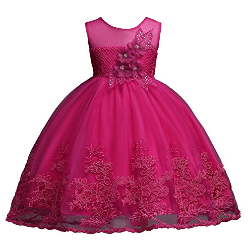 Hot Pink Girl Sequins Beading Lace Ball Gown Dress for Wedding Party Formal Size 12M 18M 24M Flower Dresses Girls Special Occasion Fancy 2-3 Years Princess Summer Knee Sleeveless (Rose, (Size 18 Fancy Dress)