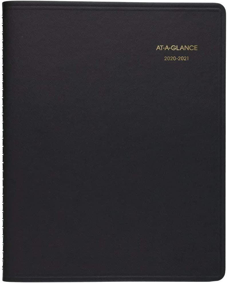 """Academic Planner 2020-2021, AT-A-GLANCE Weekly Appointment Book, 7"""" x 8-3/4"""", Medium, Black (7095805)"""