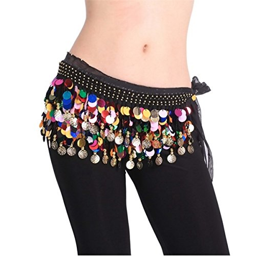 Belly Dancing Coin - Belly Dancing Dance Waistband Hip Skirt Scarf With Multicolor Sequins
