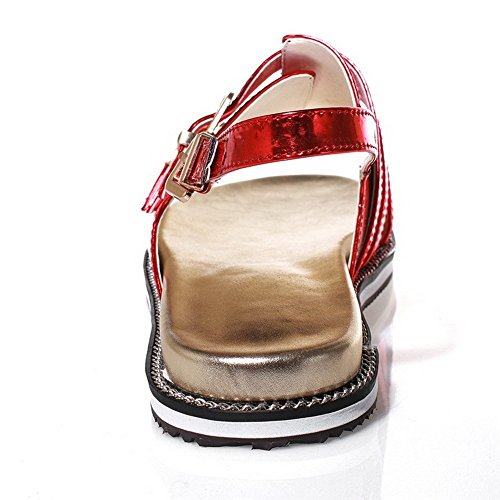 AllhqFashion Mujeres Mini tacón Puntera Abierta Material Suave Sólido Hebilla Sandalia Rojo