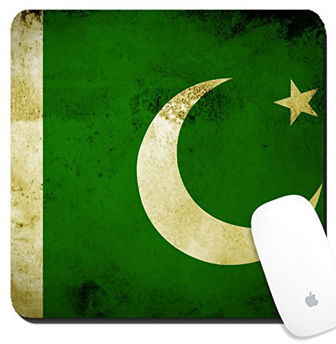 Luxlady Suqare Mousepad 8x8 Inch Mouse Pads/Mat design IMAGE ID 27510752 Flag of Pakistan painted on vintage - Kids About Pakistan All For