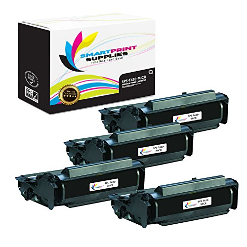 (Smart Print Supplies Compatible 12A7415 MICR Black High Yield Toner Cartridge Replacement for Lexmark T420 Printers (10,000 Pages) - 4 Pack)