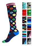Compression Socks for Men & Women - BEST Graduated Athletic Fit for Running, Nurses, Shin Splints, Flight Travel, Maternity Pregnancy - Boost Stamina, Circulation & Recovery (Cool Dots, L/XL)