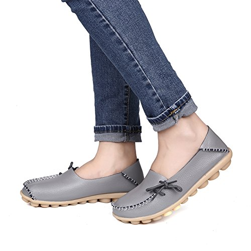 Shoes Grey2 Womens Casual Flats Loafers Driving Wild Pinpochyaw Moccasin Leather wIxpCgSwzq