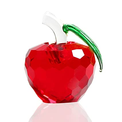 Amazon.com: 2.3 Inch (60mm) Faceted Glass Crystal Apple Figurine ...