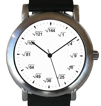 """Math Dial"" Watch Shows Square Root Equations At Each Hour Indicator on the"