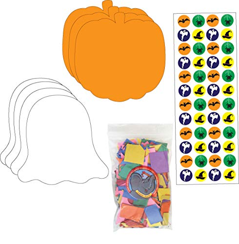 Halloween Activity Kit, The Activity kit Includes Our Halloween Incentive Stickers, Large Single Color Pumpkin Cut-Outs, Large Ghost Cut-Outs and Our 1.8 oz Project Bag of Creative -
