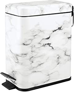mDesign 5 Liter Rectangular Small Step Trash Can Wastebasket, Garbage Container Bin for Bathroom, Powder Room, Bedroom, Kitchen, Craft Room, Office - Removable Liner Bucket, Hands-Free - Marble Print