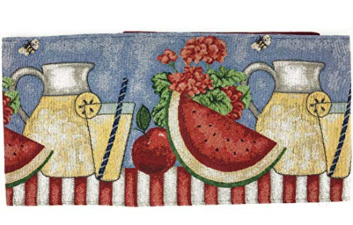 Tache Fruity Drinks Colorful Watermelon Lemonade Decorative Spring Summer Woven Tapestry Table Runners, 13x72