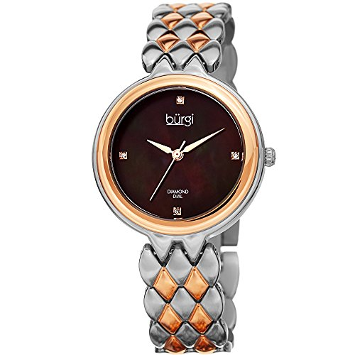 Dial Black Diamond Gold (Burgi Women's BUR193TTR Diamond Accented Black Mother-of-Pearl Dial Silver & Rose Gold Stainless Steel Bracelet Watch)