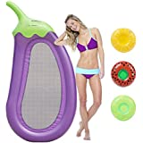 FunsLane Inflatable Eggplant Pool Float, Outdoor Swimming Pool Raft Giant Purple Pool Lounge Summer Party Beach Holiday Toys for Adults and Kids, with 3 Pack Random Inflatable Drink Holders