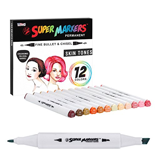 Vintage Fashion Streak - 12 Color Super Markers Skin & Hair Tones Dual Tip Set - Double-Ended Permanent Art Markers with Fine Bullet and Chisel Point Tips - Ergonomic Tri-Oval Barrels - Flesh, Face, Manga, Portrait, Sketch