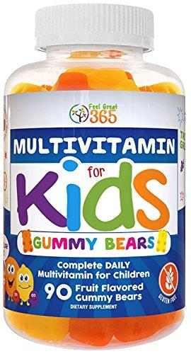 Kids Complete Daily Gummy Bear Vitamins: Multivitamin Gummies for Kids (90 Count), Gluten-Free, Non-GMO, Allergen-Free, All-Natural